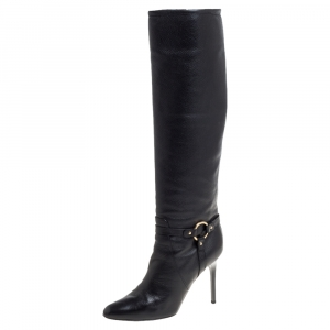 Jimmy Choo Black Leather Knee Length Pointed Toe Boots Size 38.5 - used