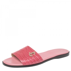 Jimmy Choo Pink Croc Embossed Leather Minea Slide Sandals Size 39.5