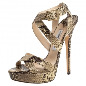 Jimmy Choo Beige/Black Python Embossed Leather Ankle Strap Sandals Size 38.5