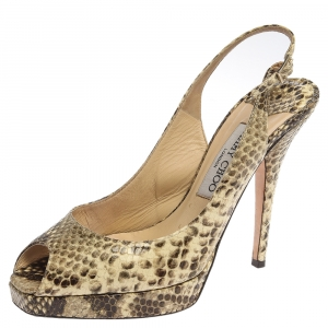 Jimmy Choo Multicolor Python Embossed Leather Slingback Peep Toe Sandals Size 37 - used