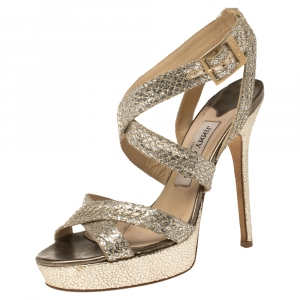 Jimmy Choo Gold/Silver Glitter Vamp Strappy Platform Sandals Size 36.5 - used