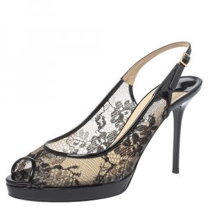 Jimmy Choo Black Lace And Patent Leather Nova Peep Toe Slingback Sandals Size 37.5 - used