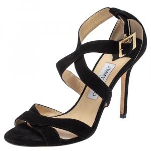Jimmy Choo Black Suede Louise Crisscross Sandals Size 38.5 - used