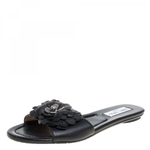 Jimmy Choo Black Leather Neave Floral Appliqué Slides Size 38.5 - used