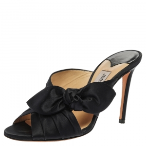 Jimmy Choo Navy Blue Satin Keely Mule Sandals Size 36.5 - used