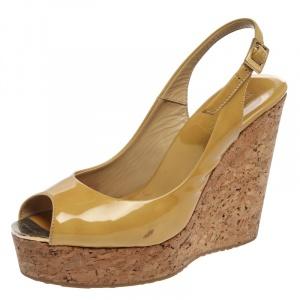 Jimmy Choo Beige Patent Leather Prova Cork Wedge Platform Peep Toe Slingback Sandals Size 38