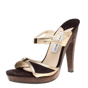 Jimmy Choo Brown/Gold Leather and Suede Henri Wooden Slide Sandals Size 37 - used