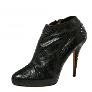 Jimmy Choo Black Python Embossed Leather Lowry Ankle Boots Size 40