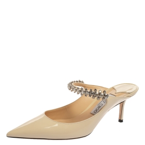 Jimmy Choo White Patent Leather Bing 65 Crystal Embellished Pointed Toe Mule Sandals Size 39