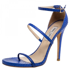 Jimmy Choo Blue Python Strappy Ankle Strap Sandals Size 39