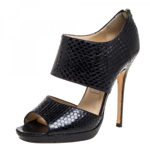 Jimmy Choo Black Python Private Sandals Size 38