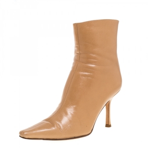 Jimmy Choo Light Brown Leather Zip Pointed Toe Ankle Boots Size 37.5 - used