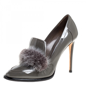 Jimmy Choo Grey Patent Leather And Mink Fur Trim Lyza Loafer Pump Size 37.5