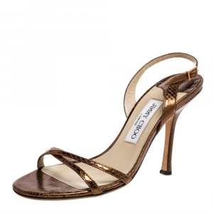 Jimmy Choo Metallic Bronze Embossed Python Leather India Slingback Sandals Size 37