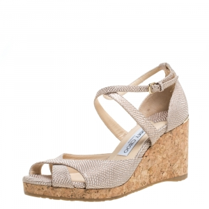 Jimmy Choo Beige Textured Cork Alanah Wedges Ankle Strap Sandals Size 38 - used