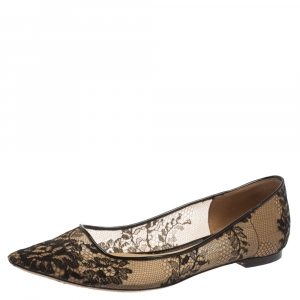Jimmy Choo Black Floral Lace Romy Ballet Flats Size 37 - used