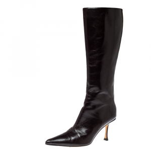 Jimmy Choo Brown Leather Peony Mid Calf Boots Size 38 - used