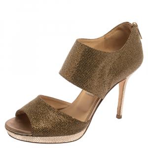 Jimmy Choo Gold /Bronze Glitter Fabric Lagoon Platform Sandals Size 37.5 - used
