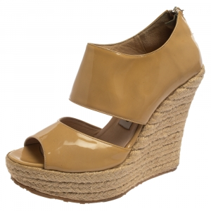 Jimmy Choo Beige Patent Patriot Espadrille Wedge Sandals Size 38 - used
