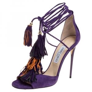 Jimmy Choo Purple Suede Mindy Fringe Wrap Sandals Size 39