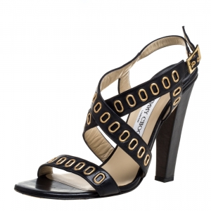 Jimmy Choo Black Leather Grommet Criss Cross Sandals Size 40 - used