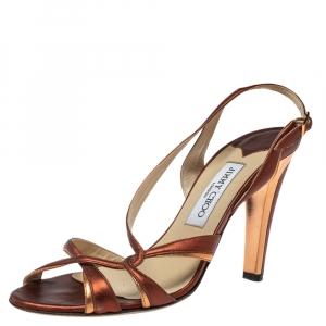 Jimmy Choo Metallic Copper/Red Leather Leona Slingback Sandals Size 39.5