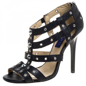 Jimmy Choo Black Leather Caged Open Toe Sandals Size 39