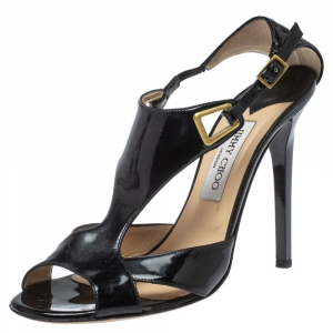 Jimmy Choo Black Patent Leather Cut Out Ankle Strap Sandals Size 39.5