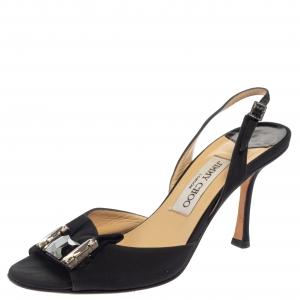 Jimmy Choo Black Satin Crystal Embellished Slingback Sandals Size 37.5