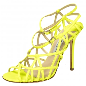 Jimmy Choo Neon Green Leather Strappy Sandals Size 39 - used