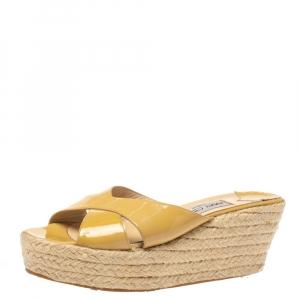Jimmy Choo Beige Leather Criss Cross Wedge Sandals Size 39 - used
