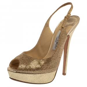 Jimmy Choo Metallic Gold Glitter Verity Peep Toe Slingback Platform Sandals 38.5