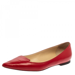 Jimmy Choo Red Leather Attila Pointed Toe Flats Size 38.5 - used