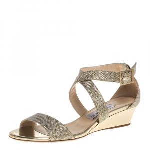 Jimmy Choo Metallic Gold Glitter Fabric Chiara Cross Strap Open Toe Sandals Size 37.5 - used