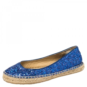 Jimmy Choo Blue Glitter And Patent Leather Espadrilles Size 38.5 - used