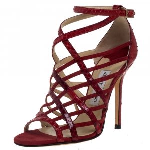 Jimmy Choo Red Python And Suede Strappy Sandals 37 - used