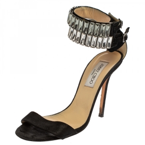 Jimmy Choo Black Glitter Nubuck Crystal Embellished Ankle Cuff Sandals Size 38.5 - used