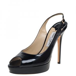 Jimmy Choo Black Patent Leather Vita Peep Toe Platform Slingback Sandals Size 40 - used
