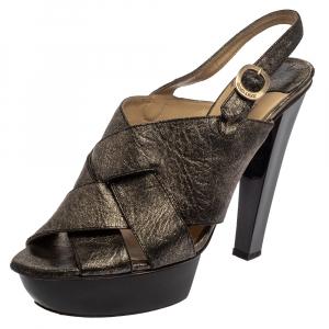 Jimmy Choo Black Shimmery Leather Platform Sandals Size 40.5 - used