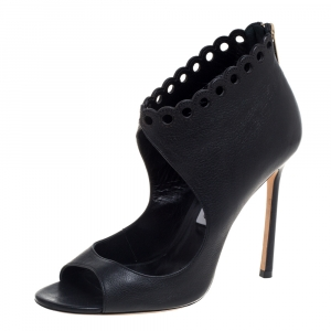 Jimmy Choo Black Leather Cutout Bootie Size 38.5 - used