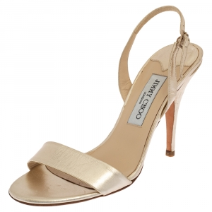 Jimmy Choo Gold Leather Slingback Sandals Size 39 - used
