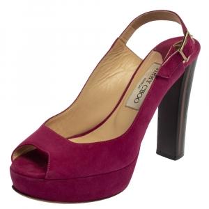 Jimmy Choo Purple Suede Peep Toe Sling back Sandals Size 38.5 - used