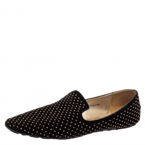Jimmy Choo Black Studded Suede Wheel Smoking Slippers Size 41 - used