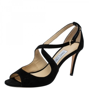 Jimmy Choo Black Suede Emily Sandals Size 37.5 - used