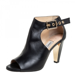Jimmy Choo Black Leather Belted Detail Open Toe Ankle Boots Size 35 - used