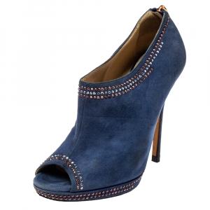 Jimmy Choo Blue Suede Glint Stud Trim Peep Toe Ankle Booties Size 38.5 - used