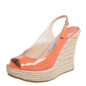 Jimmy Choo Orange Patent Leather Espadrille Wedge Slingback Sandals Size 38.5 - used