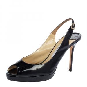 Jimmy Choo Black Patent Leather Peep Toe Platform Sandals Size 39 - used