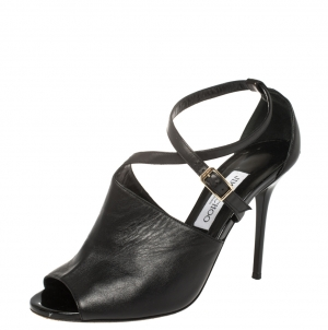 Jimmy Choo Black Leather Ankle Strap Sandals Size 40 - used
