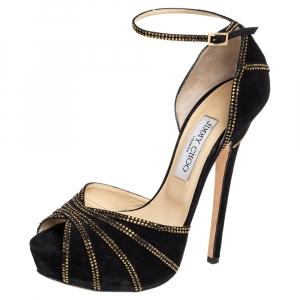 Jimmy Choo Black Suede Kalpa Ankle Strap Sandals Size 39 - used